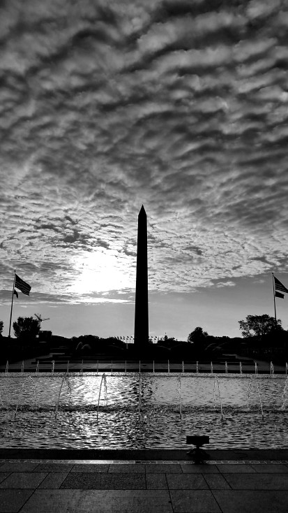 Monument and fountain monochrome